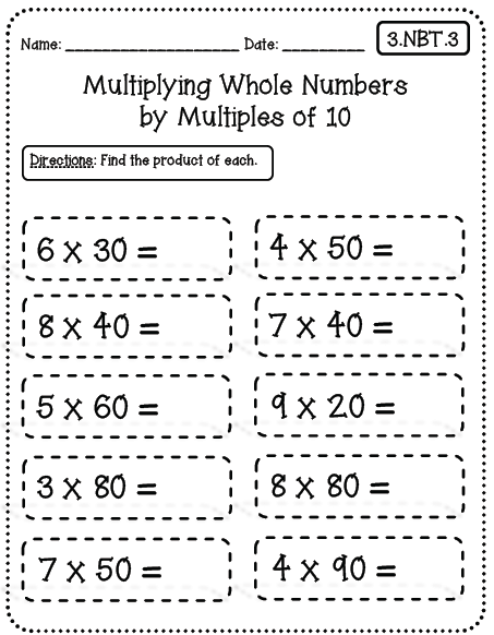 Collection Of Common Core Multiplication Worksheets 3rd Grade
