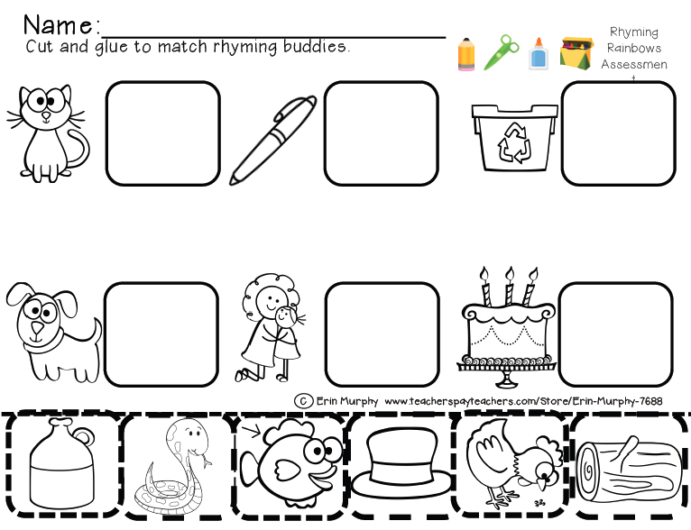Collection Of Cut And Paste Reading Worksheets For Kindergarten