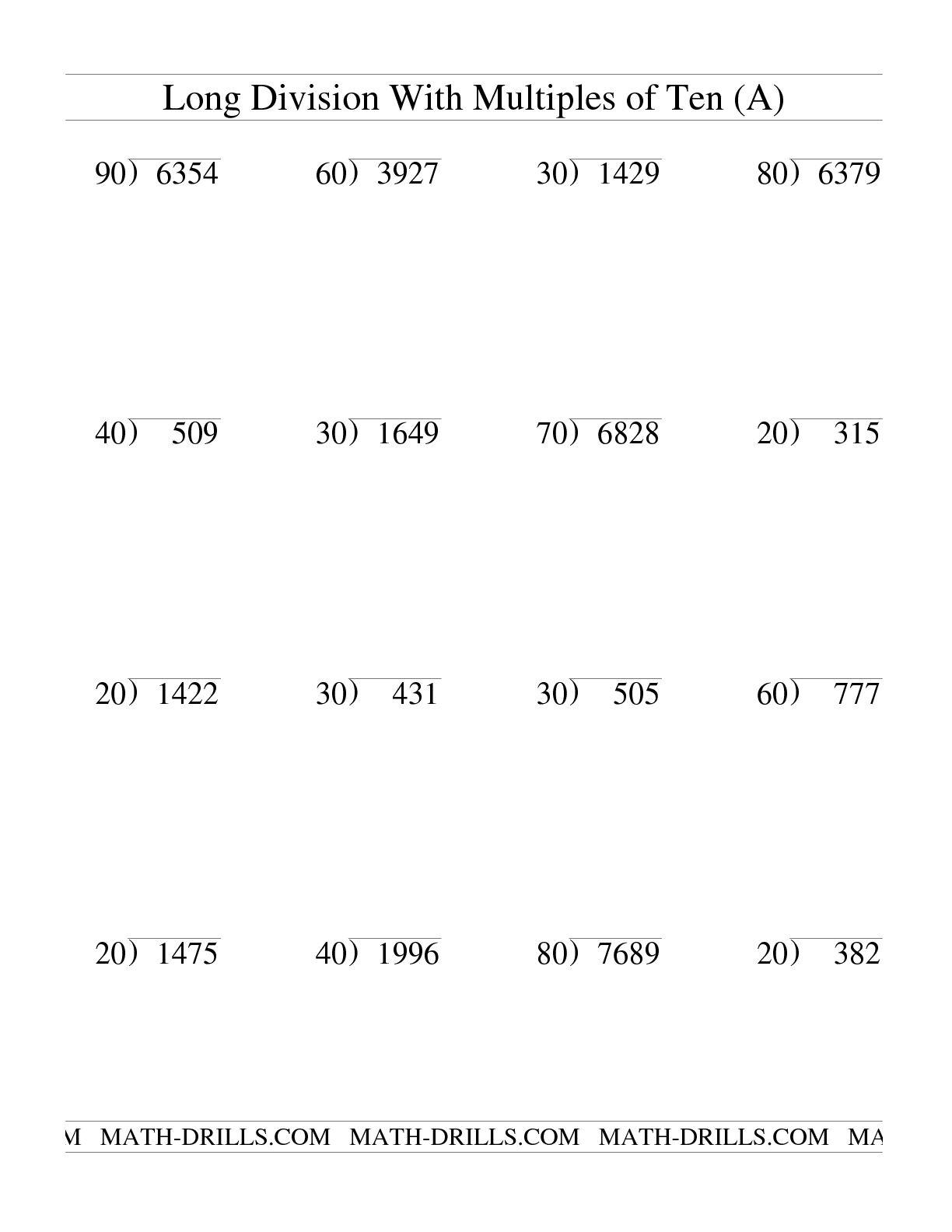 Collection Of Division Worksheets 2 Digit Divisor