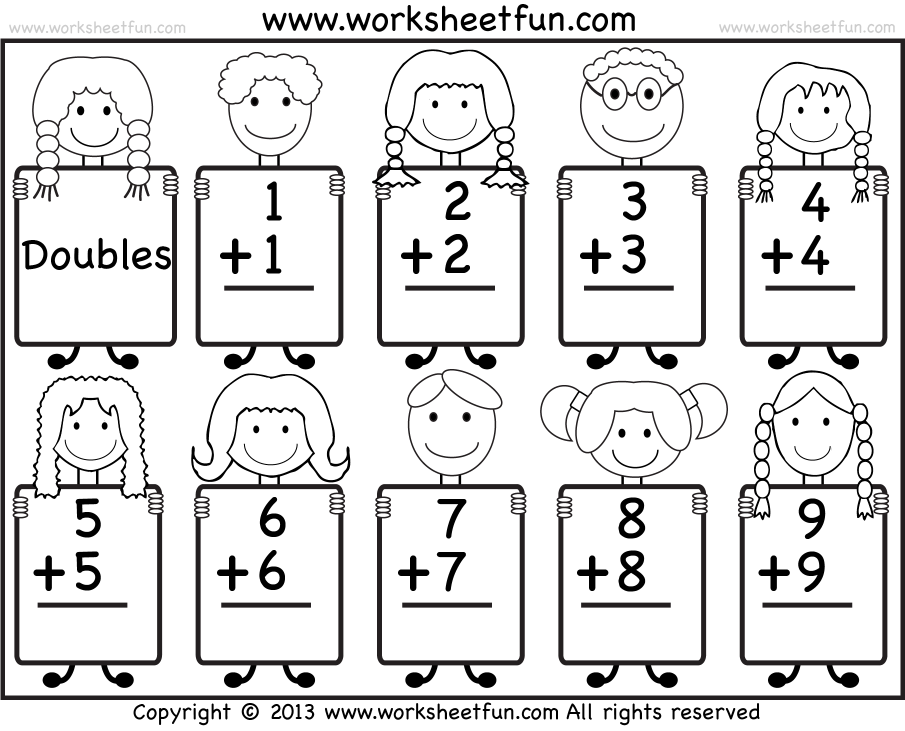Collection Of Doubles Math Worksheets 1st Grade