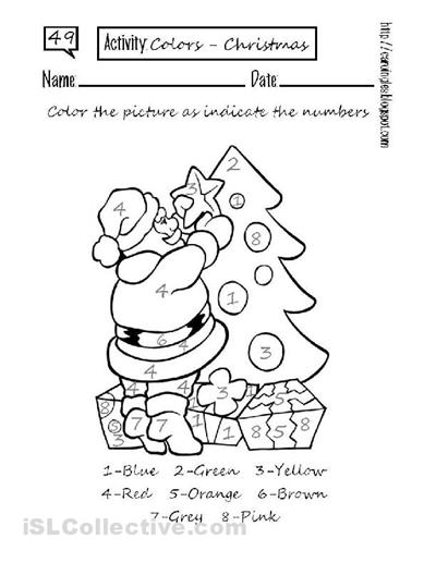 Collection Of Esl Kindergarten Christmas Worksheets