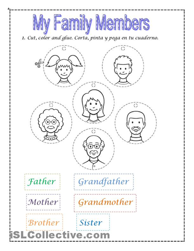 Collection Of Family Activity Worksheets Kindergarten