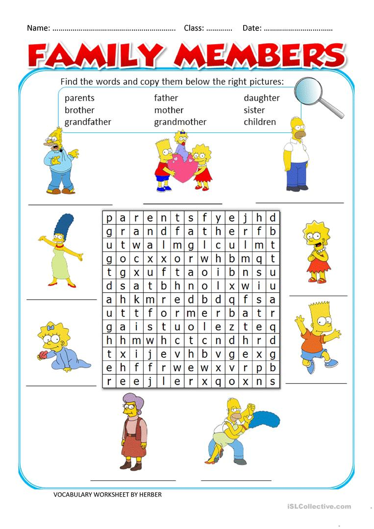 Collection Of Family Vocabulary Worksheets For Kindergarten