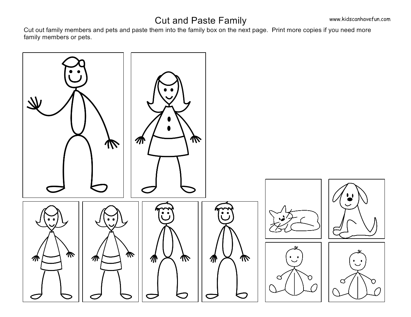 Collection Of Family Worksheets For Kindergarten