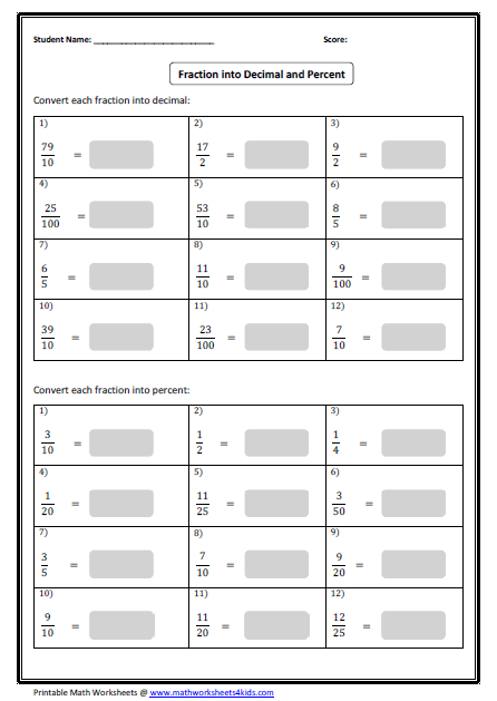 Collection Of Fractions Decimals And Percents Worksheets