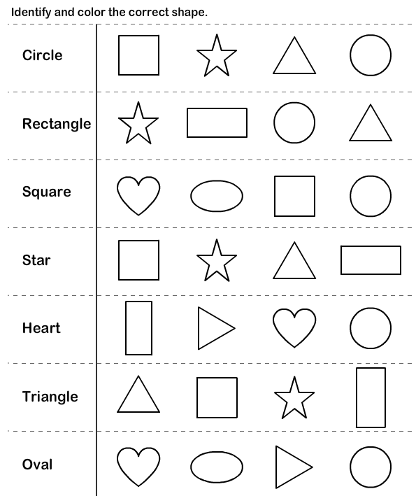 Collection Of Free Kindergarten Worksheets On Shapes