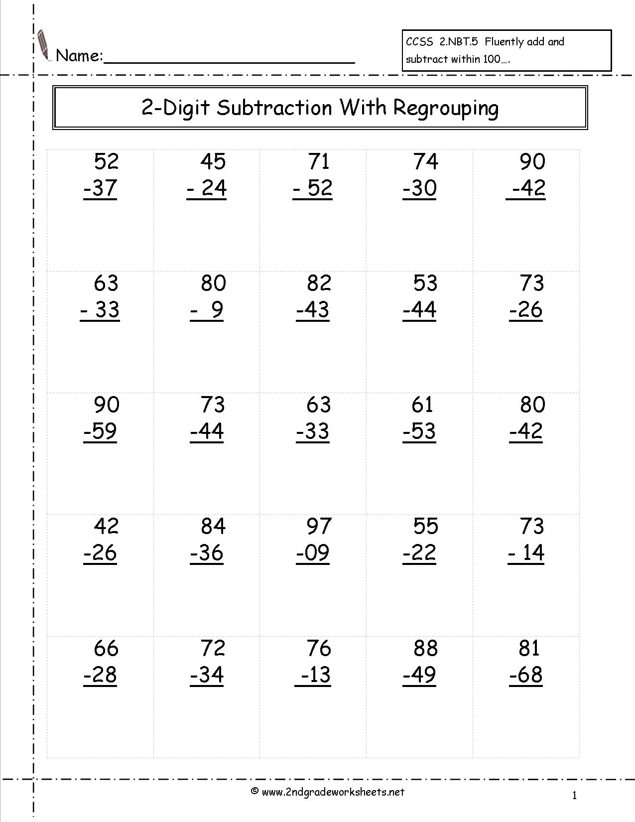 Collection Of Free Math Worksheets For 2nd Grade Subtraction