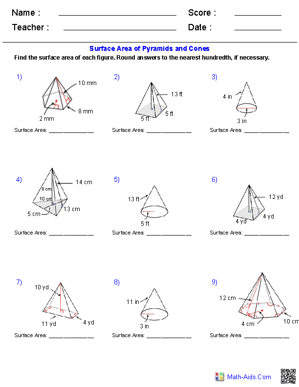 Collection Of Free Math Worksheets On Volume And Surface Area