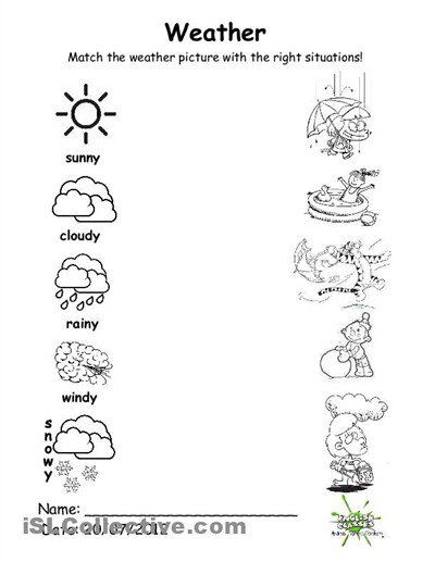 Collection Of Free Preschool Worksheets On Weather