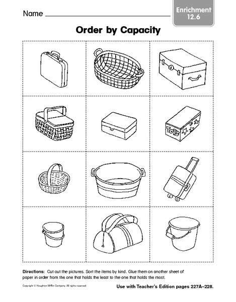 Collection Of Free Printable Capacity Worksheets For Kindergarten