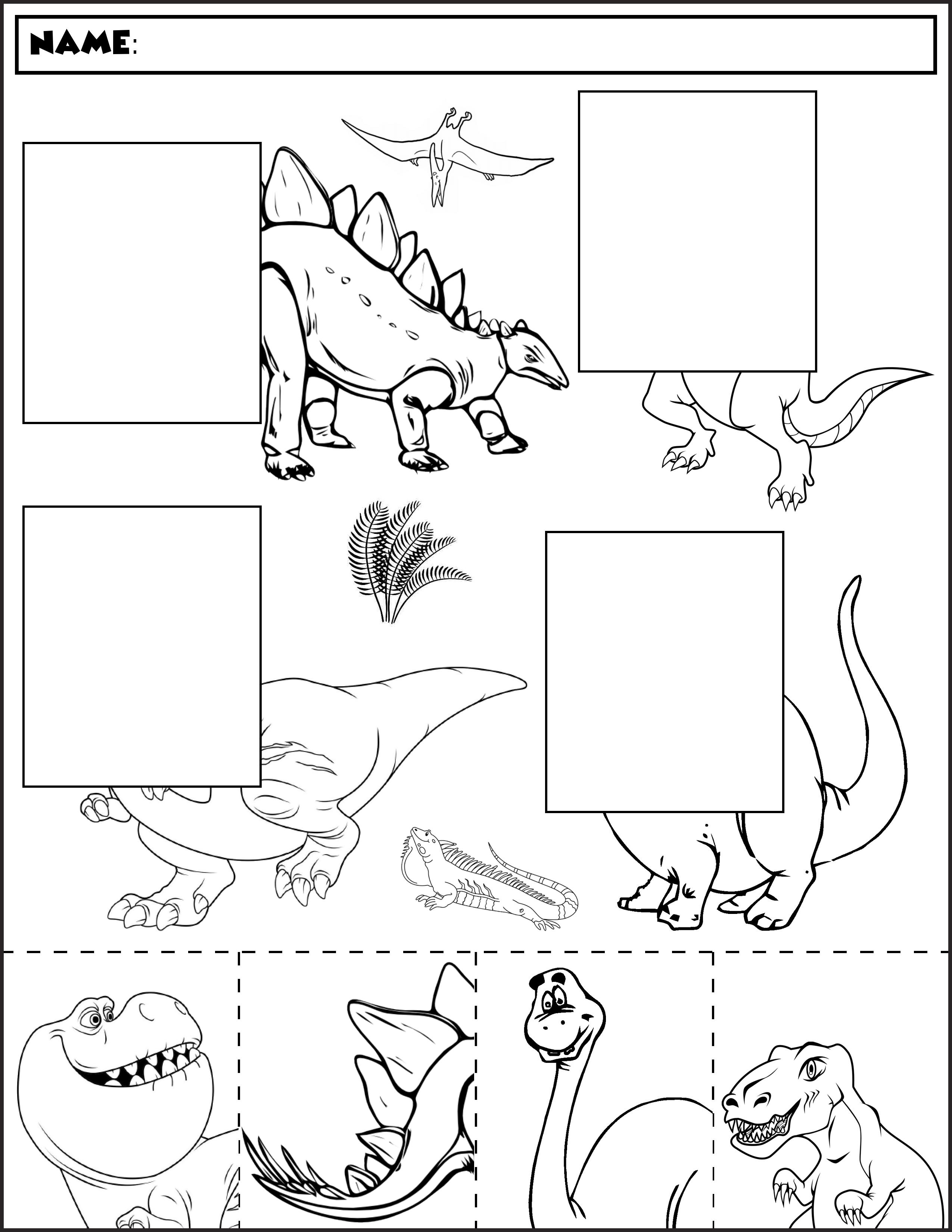 Collection Of Free Printable Kindergarten Dinosaur Worksheets