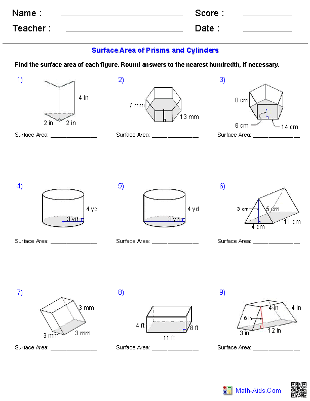 Collection Of Grade 8 Math Surface Area And Volume Worksheets