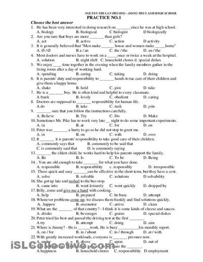 Collection Of Grammar Worksheets Middle School