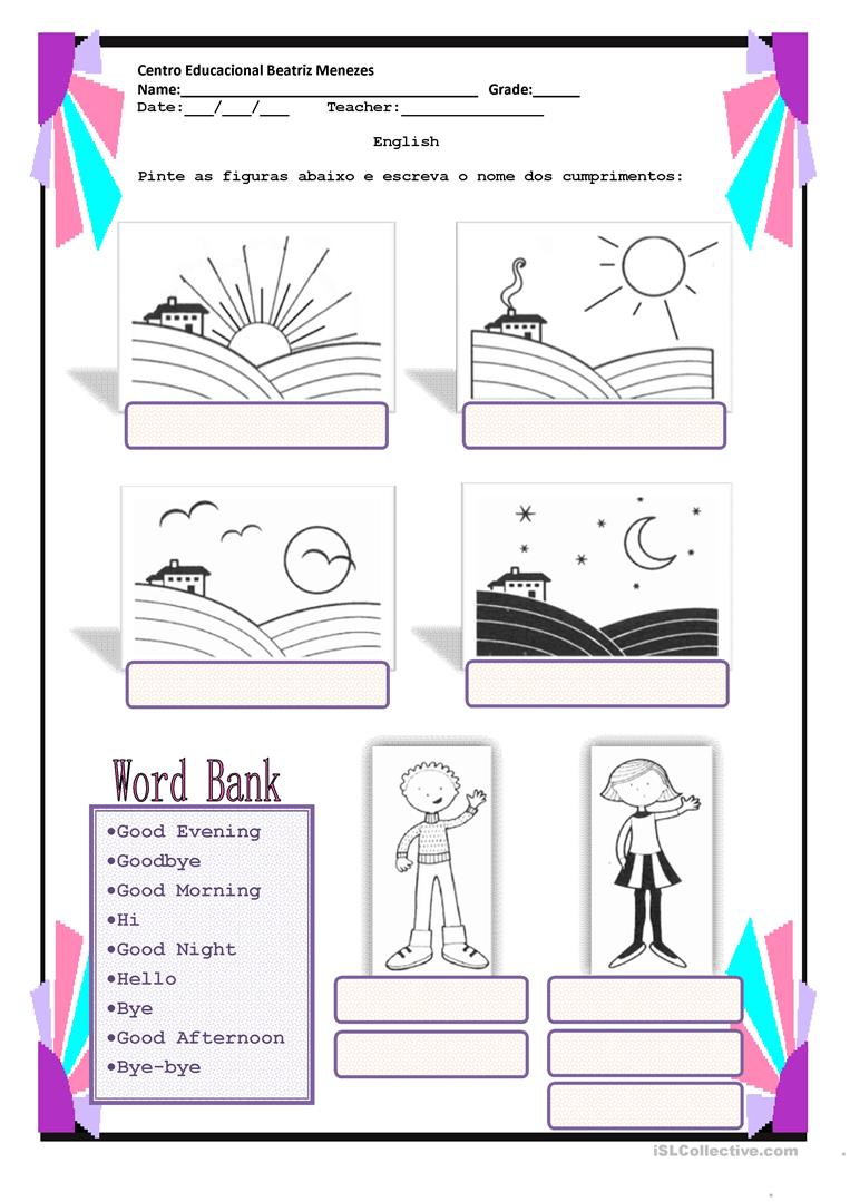 Collection Of Greetings And Farewells Worksheets For Preschoolers