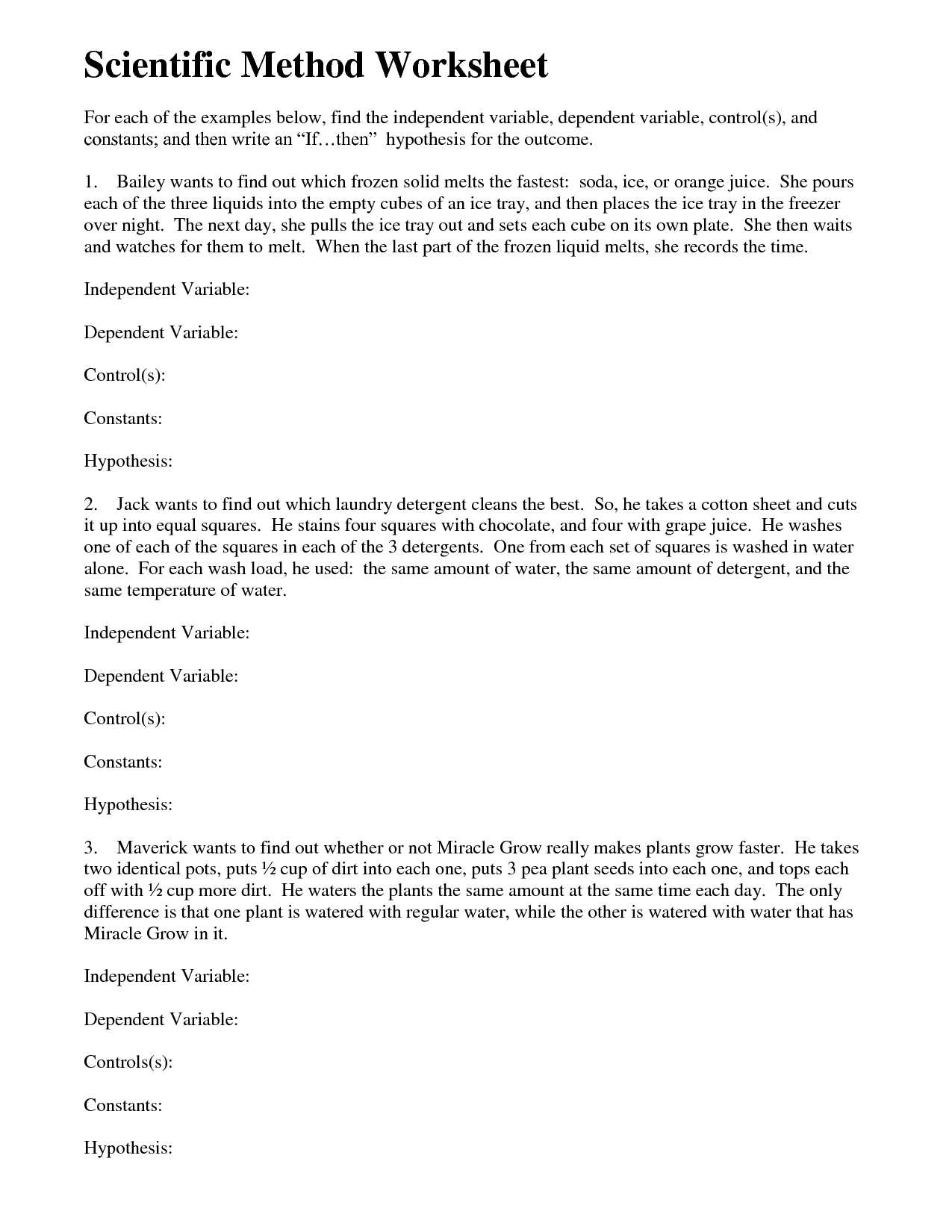 Collection Of Independent And Dependent Variables Worksheet