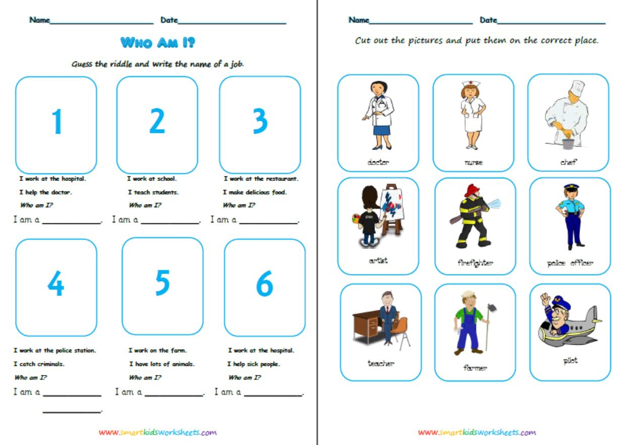 Collection Of Jobs Worksheet For Beginners