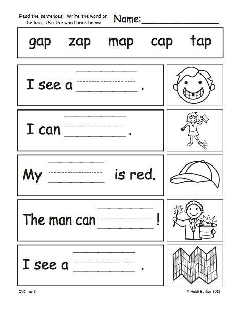 Collection Of Kindergarten Cvc Worksheets Free