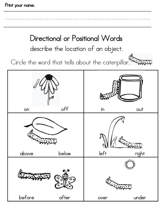 Collection Of Kindergarten Math Worksheets On Positional Words