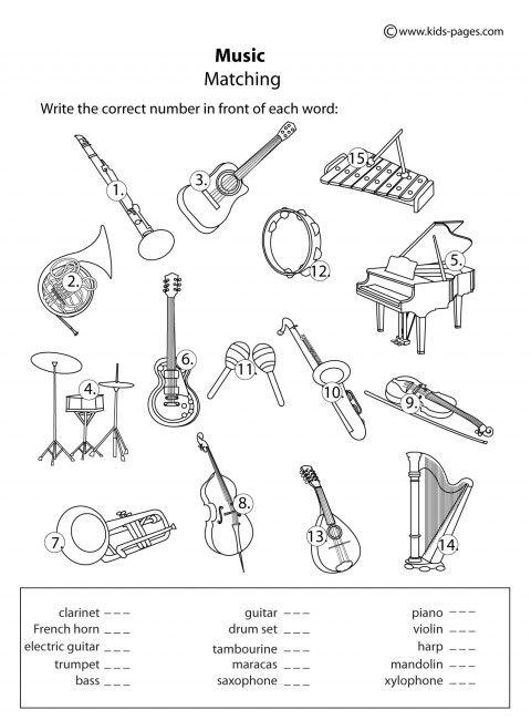 Collection Of Kindergarten Music Instruments Worksheets