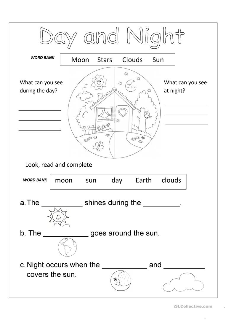 Collection Of Kindergarten Worksheets Day And Night