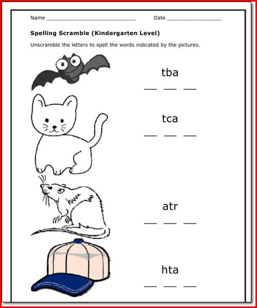 Collection Of Kindergarten Worksheets For Spelling