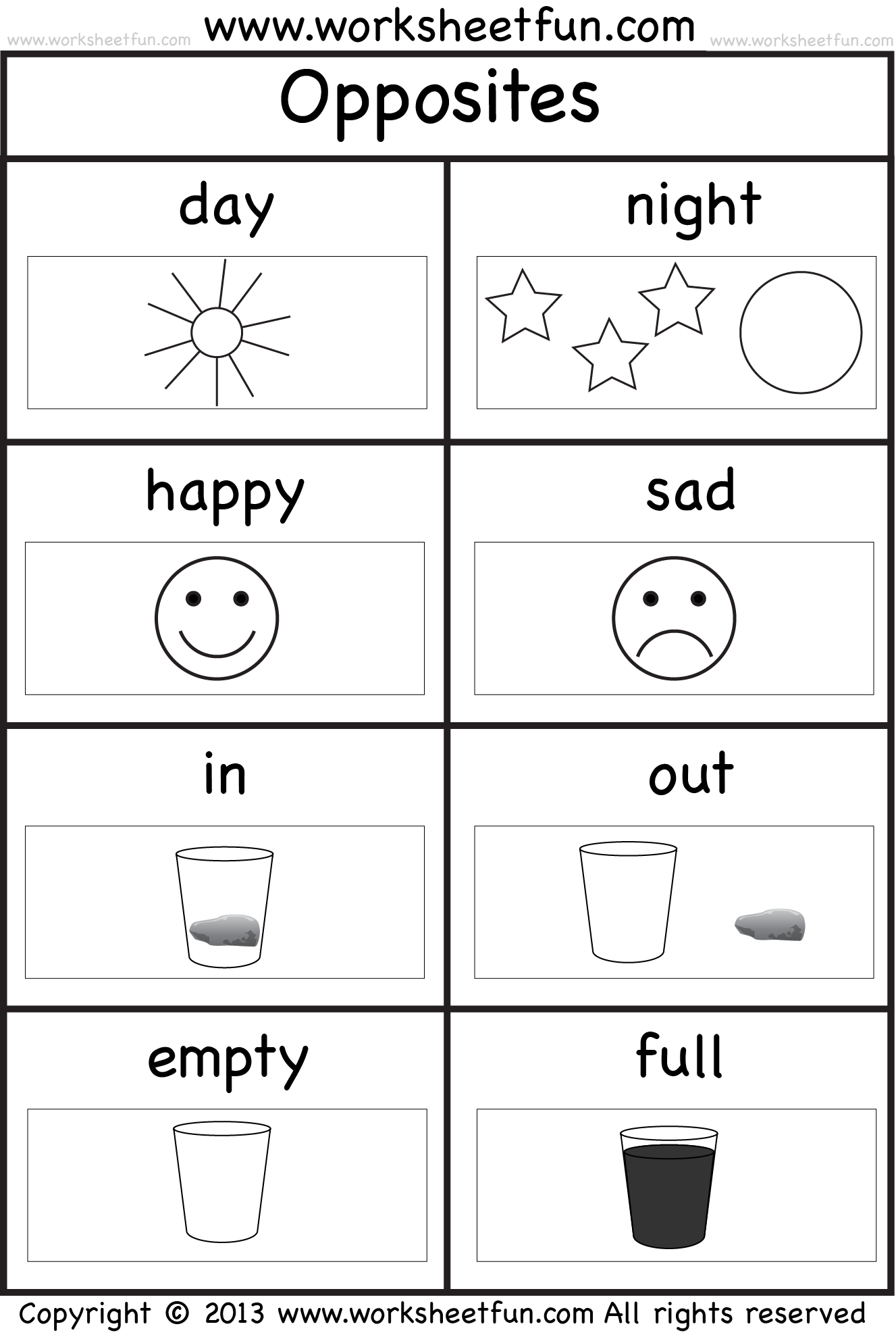 Collection Of Matching Opposites Worksheets For Preschool