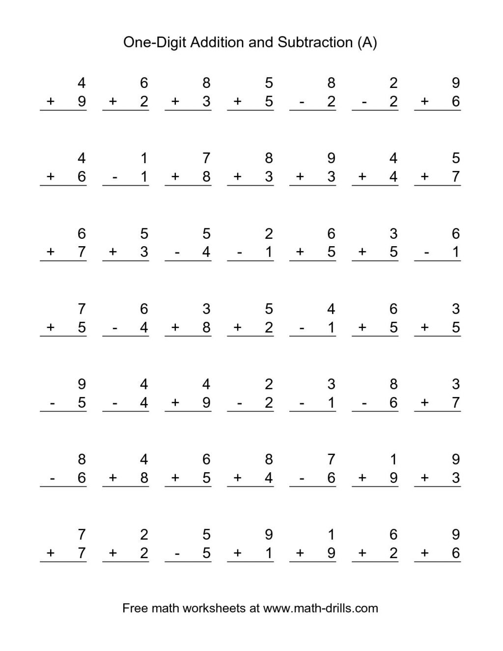 Collection Of Math Computation Worksheets For 1st Grade