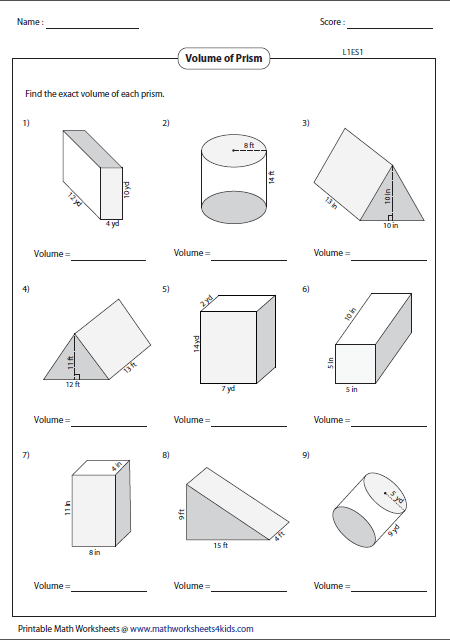 Collection Of Math Volume Worksheets Printable Free