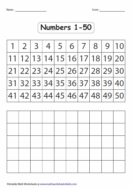 Collection Of Math Worksheets 1 To 50