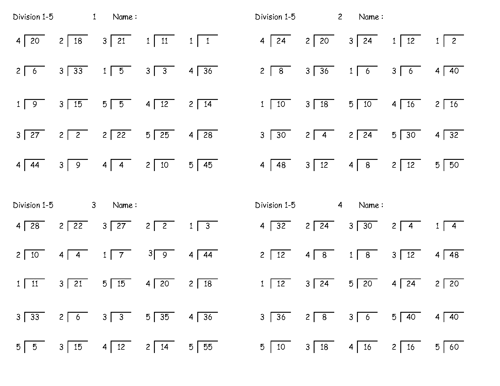 Collection Of Math Worksheets 4th Grade Division
