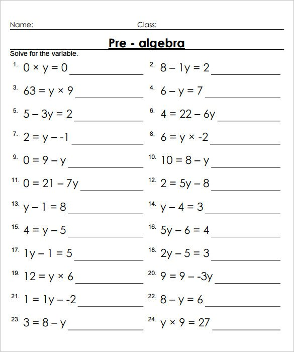 Collection Of Math Worksheets 7 Grade Pre Algebra
