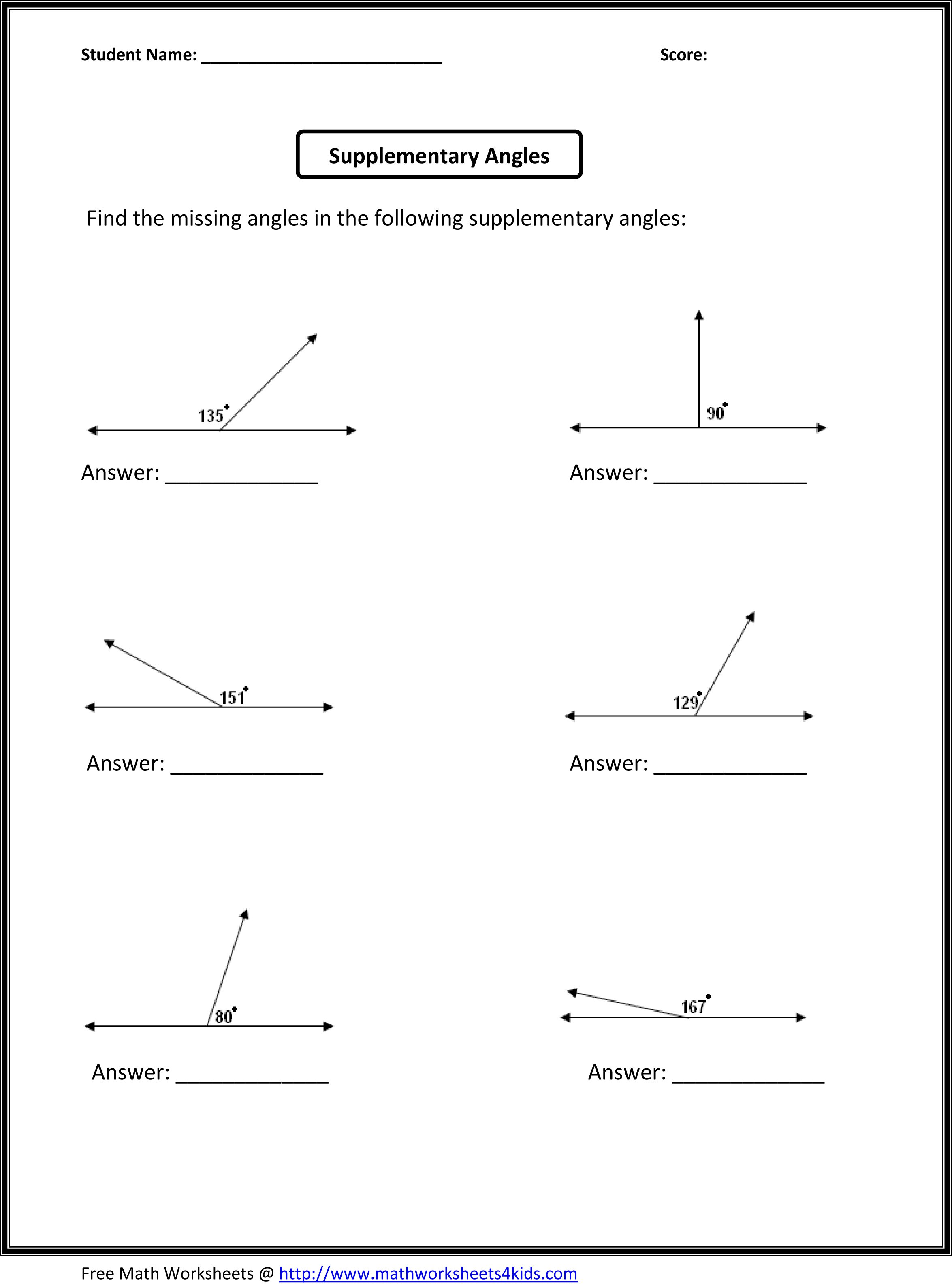 Collection Of Math Worksheets Complementary Angles