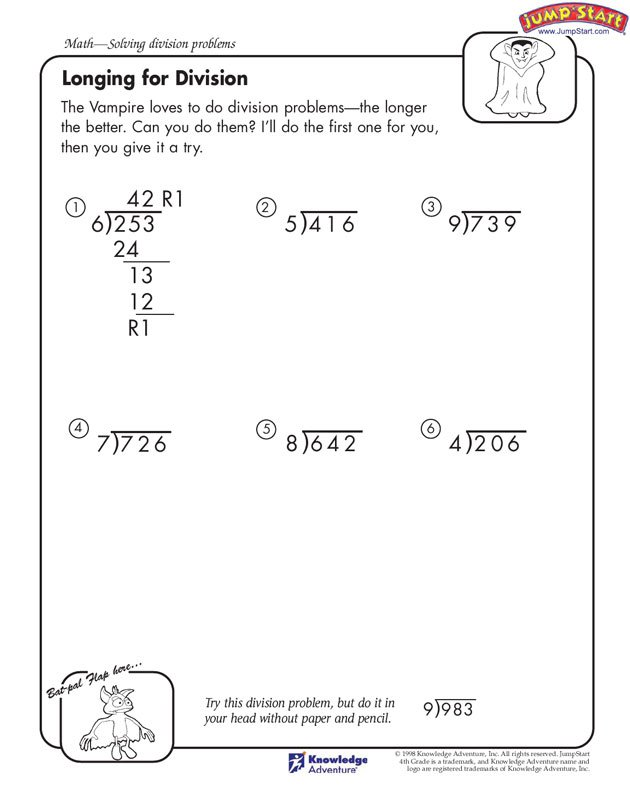 Collection Of Math Worksheets For 4th Grade Long Division
