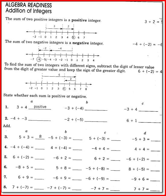Collection Of Math Worksheets For 8 Graders