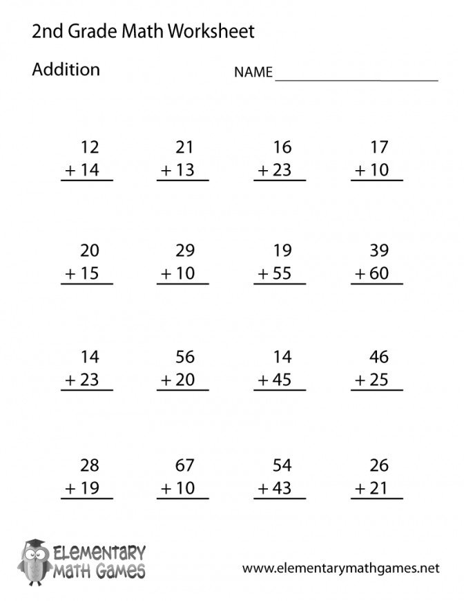 Collection Of Math Worksheets For Second Grade
