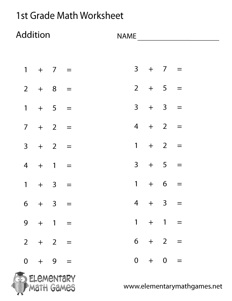 Collection Of Math Worksheets Free For 1st Grade