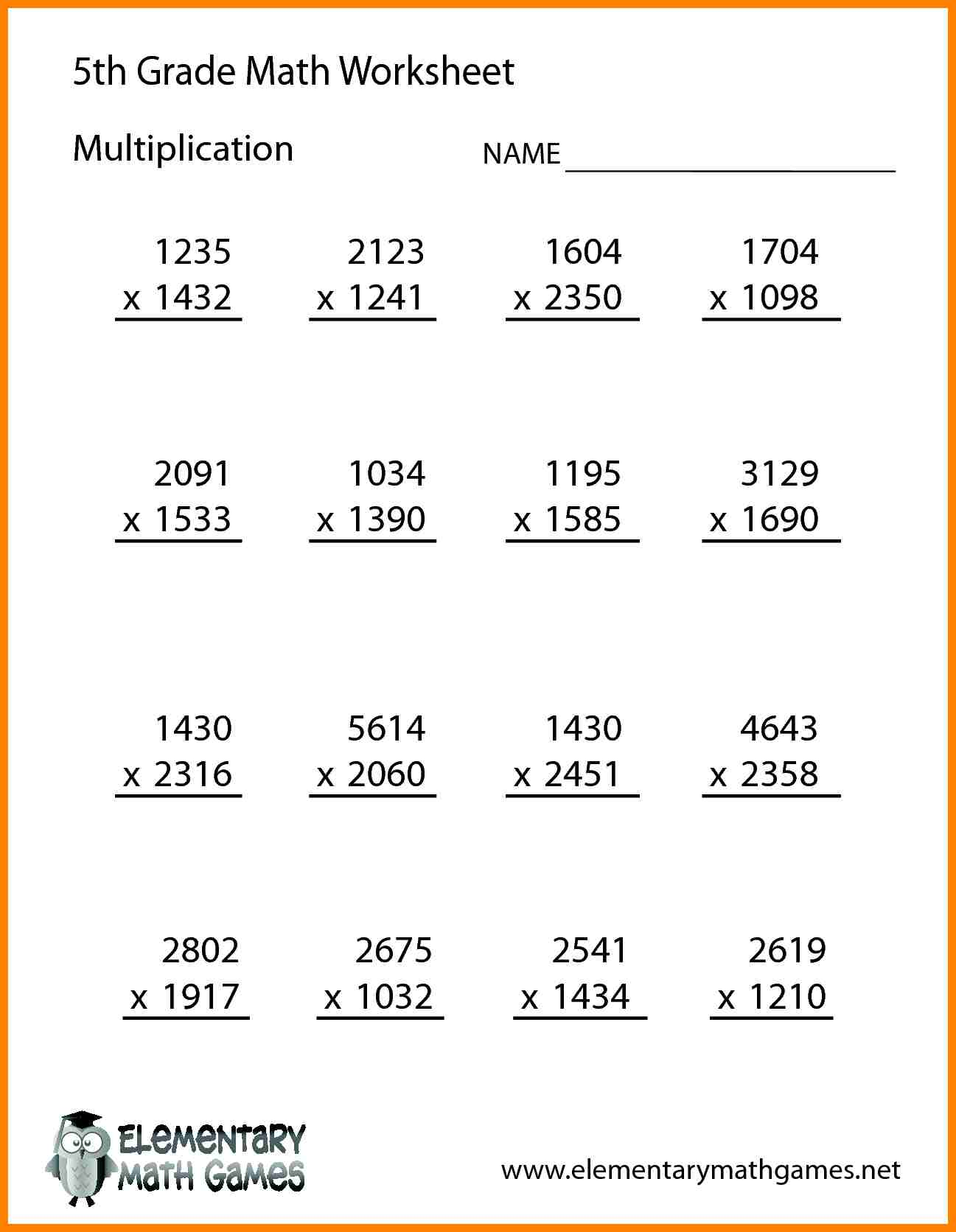 Collection Of Math Worksheets Grade 5 Addition