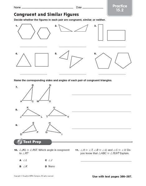 Collection Of Math Worksheets On Congruent Shapes