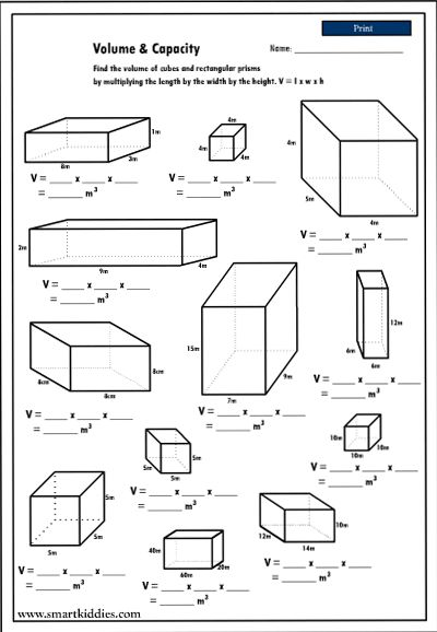 Collection Of Math Worksheets Volume And Capacity
