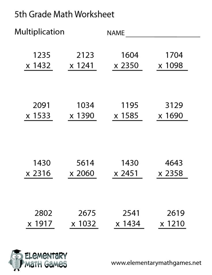 Collection Of Maths Worksheet For Grade 5