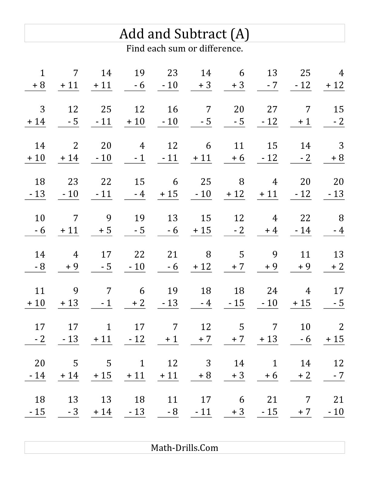 Collection Of Maths Worksheets Addition And Subtraction Problems
