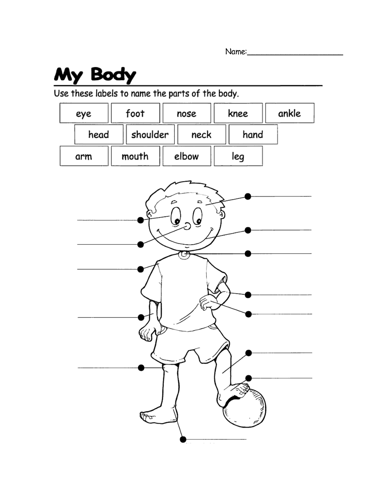 Collection Of My Body Parts Worksheet For Kindergarten
