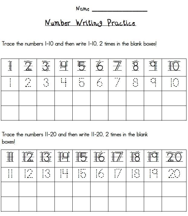 Collection Of Numbers 1 To 20 Worksheets For Kindergarten