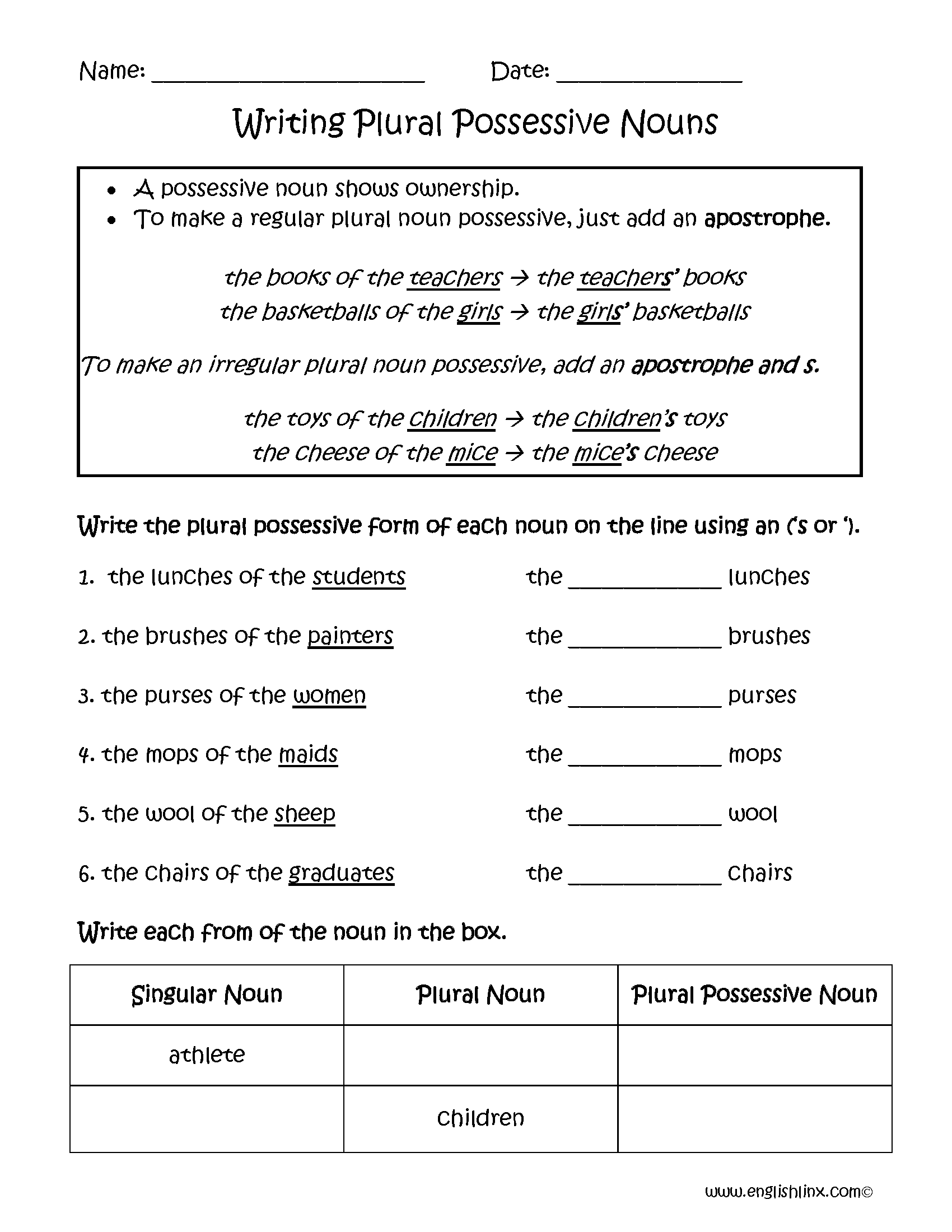 Collection Of Plural Possessive Worksheet