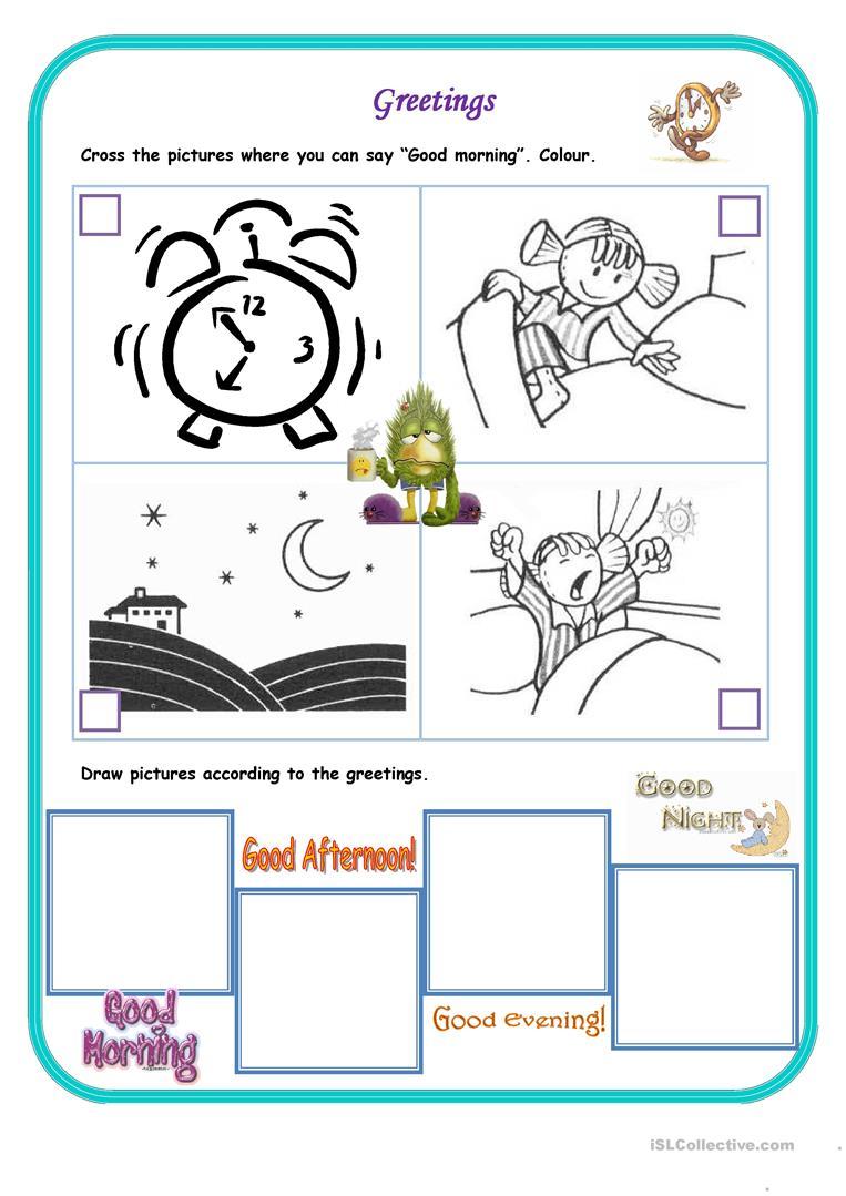 Collection Of Preschool Greetings Worksheet