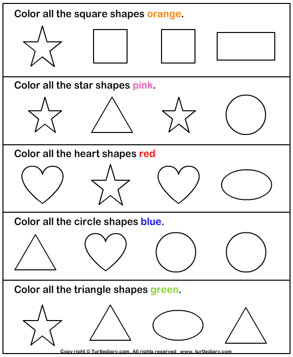 Collection Of Preschool Worksheets For Colors And Shapes