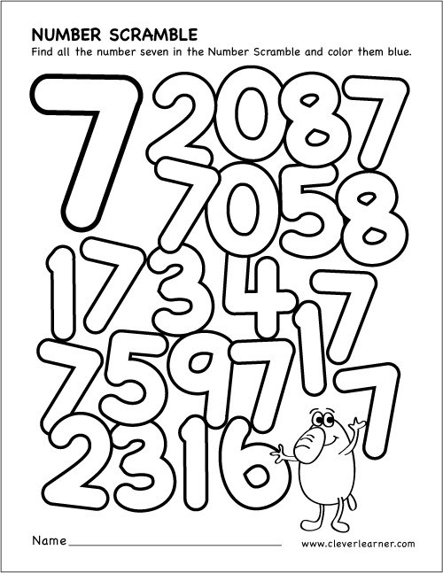 Collection Of Preschool Worksheets For Number 7