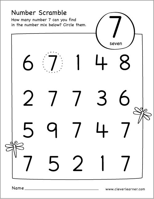 Collection Of Preschool Worksheets Number 7