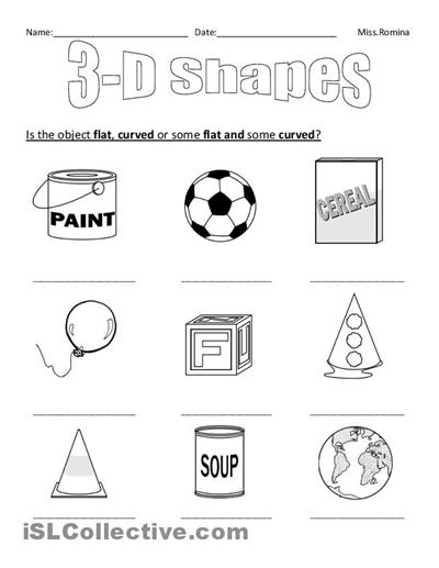 Collection Of Printable 3d Shapes Worksheets For Kindergarten
