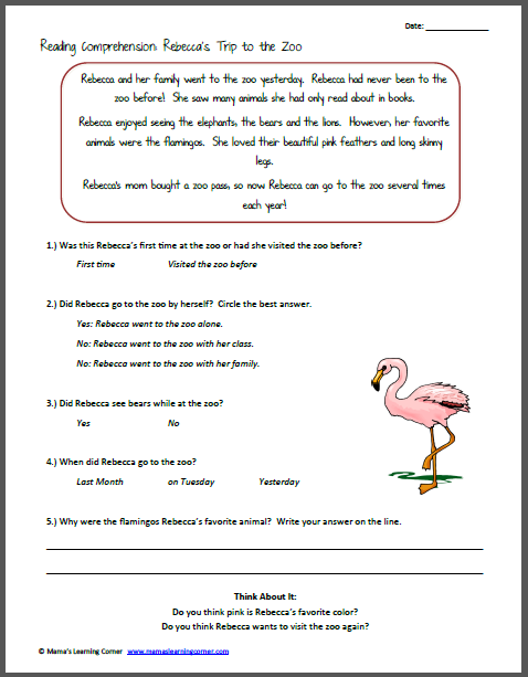 Collection Of Printable Reading Comprehension Worksheets For
